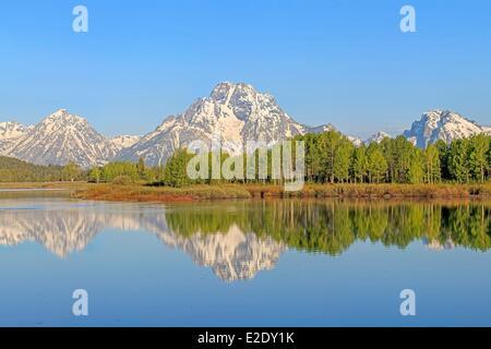 États-unis Wyoming Grand Teton National Park la Snake River et Teton Range avec le Mont Moran de Oxbow Bend