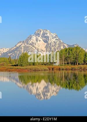 États-unis Wyoming Grand Teton National Park la Snake River et le Mont Moran de Oxbow Bend