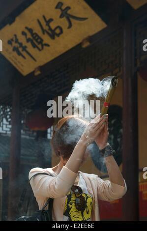 La Chine, Shanghai, Temple du Bouddha de Jade Banque D'Images