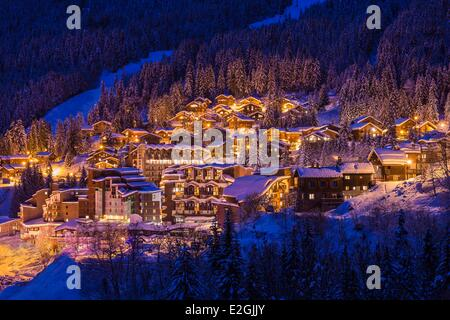 France Savoie Tarentaise La Tania station de ski dans les Trois Vallées (Les Trois Vallées) L'un des plus grands Banque D'Images