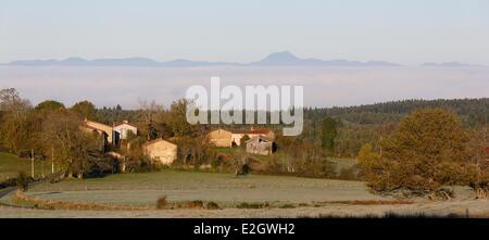 France Puy de Dôme Parc naturel regional Livradois Forez (parc naturel régional du Livradois Forez) Paysage et Chabreyras hameau Echandelys en arrière-plan Chaîne des Puys, dans le Parc Naturel Régional des Volcans d'Auvergne (Parc Naturel des Volcans d'Auvergne),