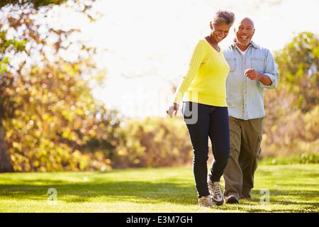 Couple à l'automne de Woodland Banque D'Images