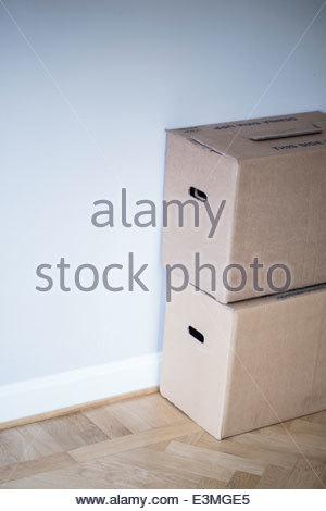 Boîtes de carton à new home Banque D'Images