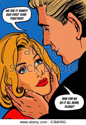 Close up of couple aimant parler face à face dans les bulles de leur premier anniversaire Banque D'Images