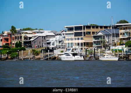 Brisbane Australie Queensland Brisbane River New Farm waterfront Residences appartements maisons Banque D'Images