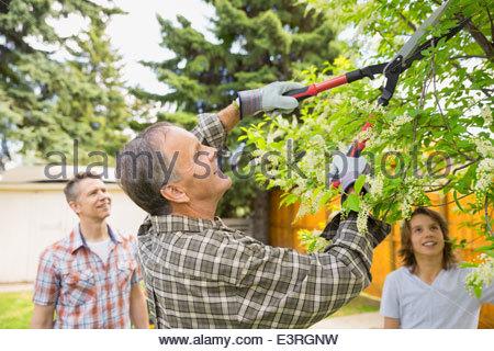 Multi-generation family L'élagage des branches d'arbre dans la cour Banque D'Images