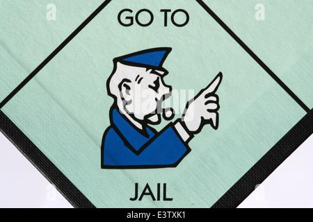 Aller en prison l'espace sur un jeu de Monopoly Board