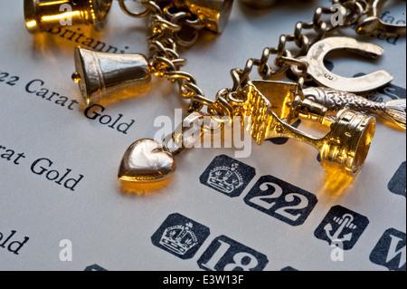 Déchets d'or CARACTÉRISTIQUES PURETÉ 1960 gold charm bracelet sur la page de la pureté de l'or et poinçons livre Banque D'Images