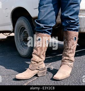 Close up of man wearing cowboy bottes à éperons Banque D'Images