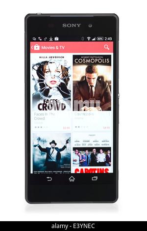 Smartphone Sony Xperia Z2, montrant le menu de sélection de films dans le Google Play Store, Cinéma & TV, What's Banque D'Images