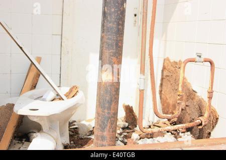 Détail de l'intérieur de maison en ruine