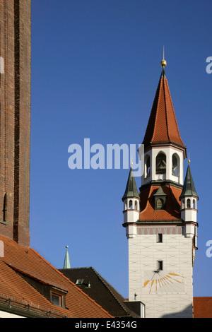 L'Altes Rathaus ou Old Town Hall, Marienplatz, Munich, Allemagne. Banque D'Images