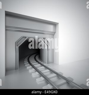 Tunnel et fer métal laissant dans l'obscurité Banque D'Images