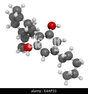 Le cannabidiol (CBD) molécule de cannabis. A effets antipsychotiques. Les atomes sont représentés comme des sphères avec codage couleur classiques