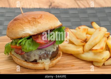 Cheeseburger et des frites avec un petit pain brioché - studio abattu avec une faible profondeur de champ Banque D'Images