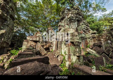 Cambodge voyage historique concept - ruines antiques, Ta Prohm temple, Angkor, Cambodge Banque D'Images