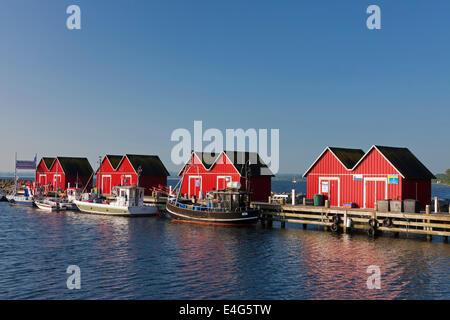 Les bateaux de pêche amarrés devant rouge de cabanes de bois dans le port de Boltenhagen le long de la mer Baltique, Mecklenburg-Vorpommern, Allemagne