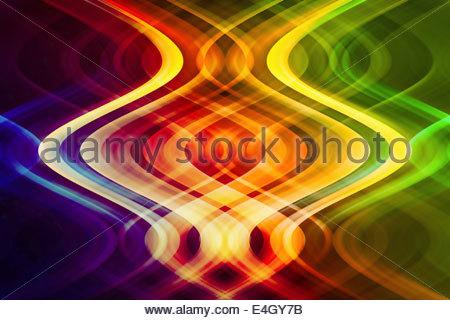 Abstract pattern symétrique des faisceaux lumineux colorés entrelacés Banque D'Images