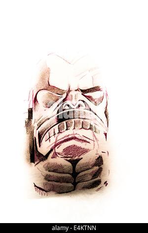 Tatouage à la main sur papier blanc croquis Banque D'Images