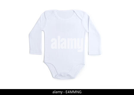 Manches longues vêtements de bébé en blanc sur fond blanc Banque D'Images