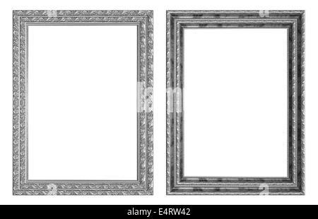 Cadre photo argent isolé sur fond blanc. Banque D'Images