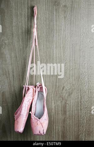 Chaussures de ballet de vieux rose Banque D'Images