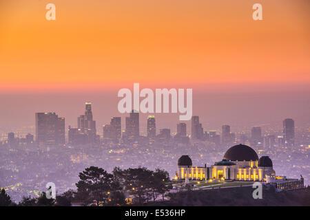 Los Angeles, Californie, USA sur le centre-ville de Griffith Park.