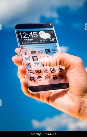 Phablet téléphone intelligent (futuriste) avec un affichage transparent de mains humaines. Notion que les idées Banque D'Images