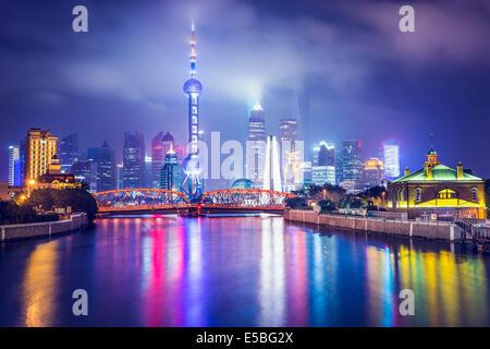 Shanghai, Chine vue sur le quartier financier. Banque D'Images