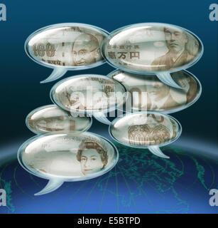 Image d'illustration des différentes monnaies de bulles de chat qui représente la mondialisation Banque D'Images