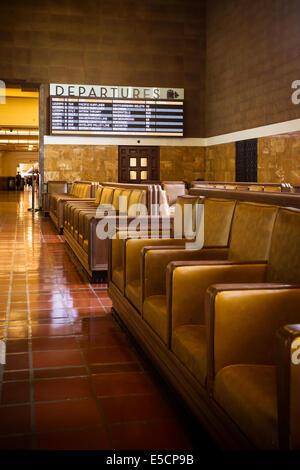 L'intérieur art déco restauré de Union Station à Los Angeles, Californie, USA Banque D'Images