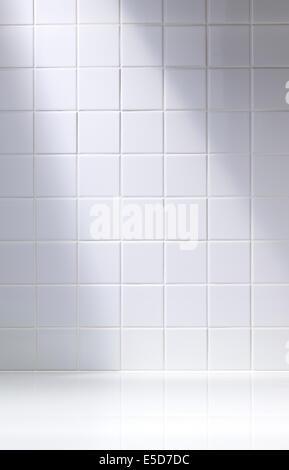 Un tir vertical d'une salle de bains carrelée de blanc ou d'arrière-plan Banque D'Images