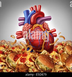 Le risque de maladie cardiaque et symbole de santé et de nutrition concept comme un organe cardio-vasculaire humain Banque D'Images