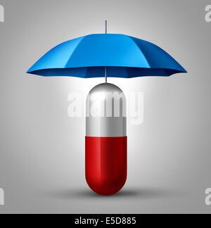 La protection de la médecine et de la sécurité des soins de santé comme un symbole avec une capsule comprimé avec Banque D'Images