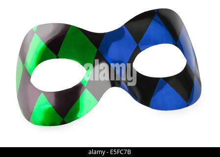 Masque de carnaval bleu et vert sur fond blanc Banque D'Images