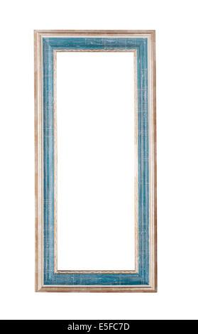 Ancien cadre bleu sur fond blanc