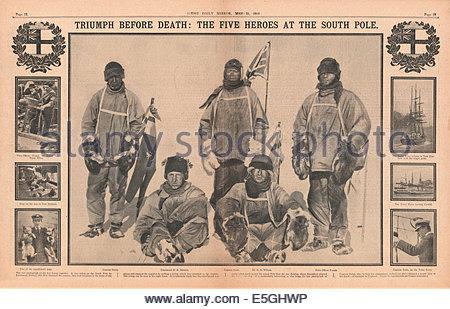 1911 Daily Mirror centre page montrant le Capitaine Scott et ses compagnons au Pôle Sud Banque D'Images