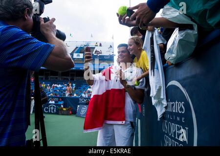 Milos Raonic gagne 2014 Citi ouvrir à Washington, DC. Banque D'Images