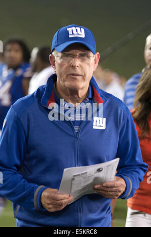 Canton, Ohio, USA. 3e août, 2014. New York l'entraîneur-chef Tom COUGHLIN après le match contre Buffalo. Les Giants Banque D'Images
