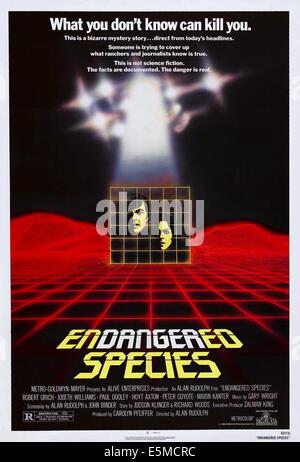 Les espèces en voie de disparition, de gauche à droite: Robert Urich, JoBeth Williams sur l'affiche, 1982, ©MGM/courtesy Banque D'Images