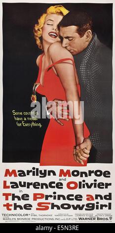Le PRINCE ET LE SHOWGIRL, poster art, Marilyn Monroe, Laurence Olivier, 1956 Banque D'Images