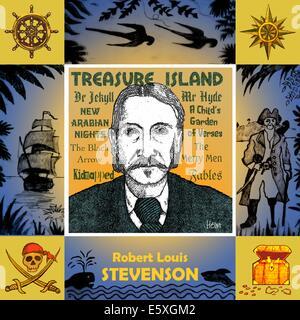 Robert Louis Stevenson, 1850 - 1894, portrait dans un cadre sur le thème de l'île au trésor.