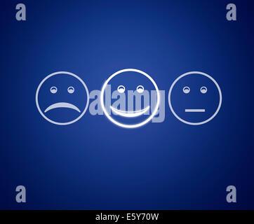 Écran d'émoticônes service client formulaire d'évaluation. Banque D'Images