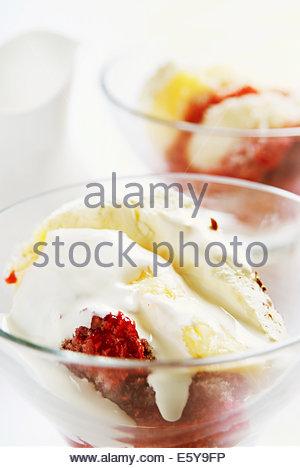 Deux portions de bagatelle dans bols en verre faite avec des framboises crème anglaise et crème fouettée mousse Banque D'Images