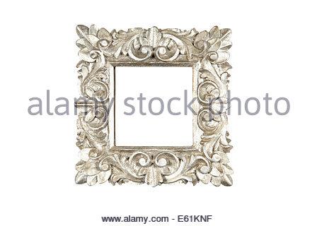 Un design floral square cadre en bois peint en argent. Isolé sur blanc avec chemin. Banque D'Images
