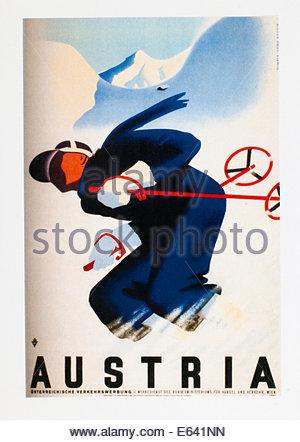 Vintage Voyage affiche publicitaire de ski en Autriche. Seulement éditoriale Banque D'Images