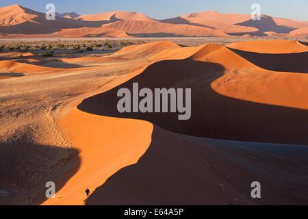 Man climbing sand dunes, Parc National Namib Naukluft, Namibie Banque D'Images
