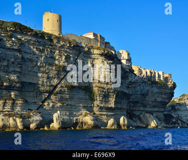 Ville haute sur le livre blanc des falaises de craie, Bonifacio, Corse, France Banque D'Images