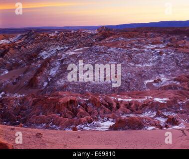 Lumière du soir, Valle de la Luna, la Cordillère de la Sal, Désert d'Atacama, Chili Banque D'Images