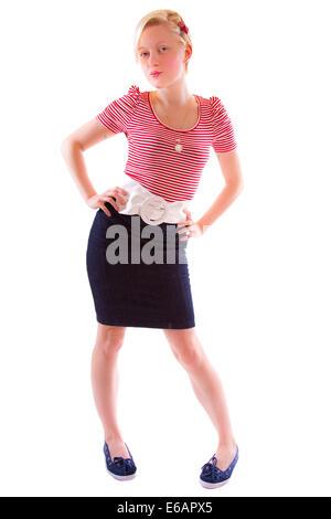 Jeune femme,femme,courroies,jupe Banque D'Images
